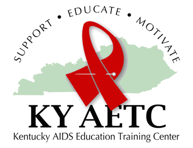 red ribbon superimposed on top of a green outline of the state of Kentucky. The letters KY AETC are underneath the ribbon