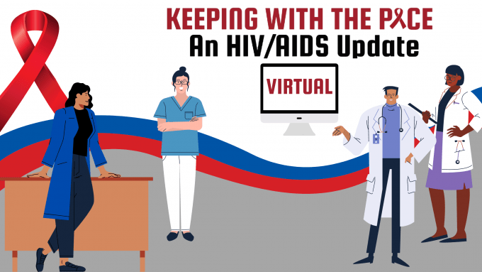 cartoon graphic of 3 doctors. A blue text box is in the upper left corner that reads Keeping With the Pace an HIV/AIDS Update