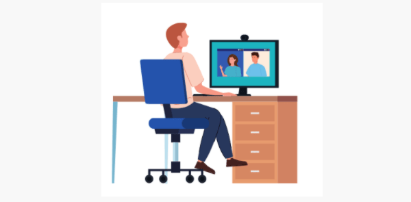 Cartoon drawing of a man sitting in a blue computer chair looking at a computer that's on a brown desk