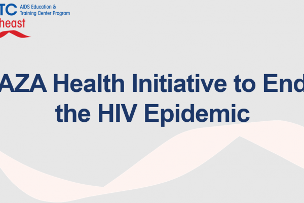 Aza Health Initiative to End the HIV Epidemic is in blue letters. The AETC logo is on the top left