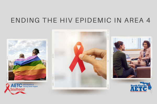 3 pictures: couple with rainbow flag around them, red ribbon, and two women talking